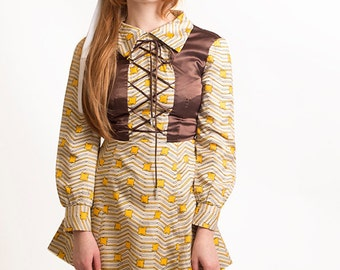 SALE // Vintage 60s 70s Psychedelic Glam Mod Satin Lace Up Mini Dress Star Print XXS