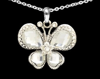 Clear Butterfly Necklace