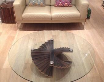 Beautifully handmade plywood coffee table with veneered ebony macassar base