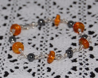 Bracelet with Baltic Amber and Hematite