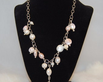 Pearl Necklace with Pink Freshwater Pearls and Sterling Silver Chain- Adjustable Length