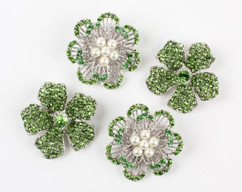 4pcs Green Pearl Rhinestone Flower Pin Brooch, DIY Brooch Bouquet Lot,  Bridal Bridesmaid Gift, Wedding Accessory Embellishment