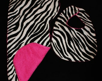 Zebra Hot Pink Baby Girl Bib, Burp Cloth Set