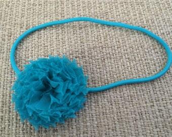 Turquoise Blue Skinny Elastic Headband with Turquoise Blue Shabby Chic Chiffon Flower