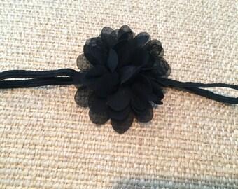 Black Skinny Elastic Headband with Black Chiffon Flower