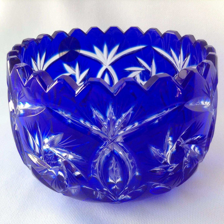 Cobalt Blue Cut To Clear Bohemian Cut Crystal Bowl