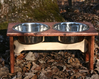Dog Bone Elevated Dog Bowl Stand with 2 Two Quart Bowls