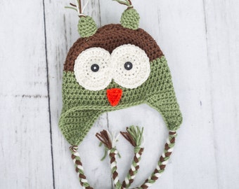 crochet owl hat crochet hat baby boy hat baby boy owl hat toddler hat newborn hat newborn boy hat earflap owl hat toddler hat