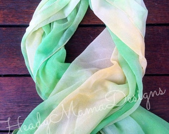 Bohemian Hippe Bright Lime Green and Yellow Hand-Dyed Tie Dye Women's Scarf Wrap Sarong Shawl