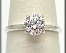Simple Engagement Ring   Simple Wedding Ring   1ct Hearts and Arrows Cut Diamond Simulant Classic Solitaire Ring   SEE VIDEO   Sz.2-16