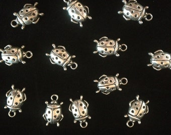 Six Metal Ladybug Lead Free Pewter Charms