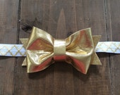 Gold bow on gold headband- gold Bow- gold and white headband- baby gold bow headband