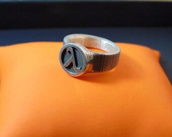Beautiful sterling silver Lamda ring-Greek letter  sterling silver ring- Gamer signet rings-Men's silver signet ring-Geeky mens ring-Geekery