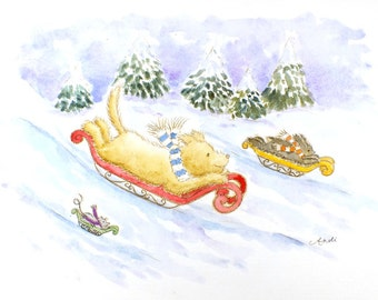 Puppy Winter Sledge Race Original signed watercolor watercolour painting nursery art fantasy animal wildlife illustration