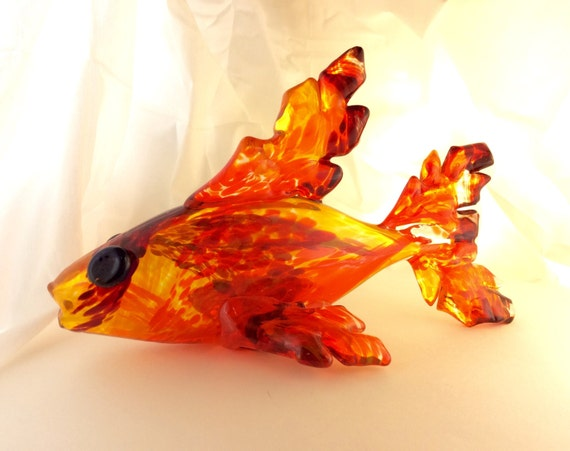 Fire fish by darkenstarglass on etsy for Fish on fire