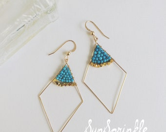 Diamond Shape Drop Earrings / Flutter Earrings / Light-Catching Dangle Earrings / Turquoise Earrings / Boho / Gifts For All Occasions