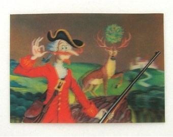 25% OFF, Baron Munchausen, Stereo Photo Postcard, Deer, Illustration, Used Soviet Vintage Postcard,  USSR , 1987, 1980s