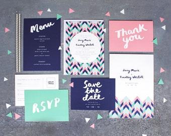 Printed Wedding Stationery Set 'Geometric Love'