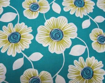 Michael Miller Big Flower Cotton Teal Fabric Called Julie
