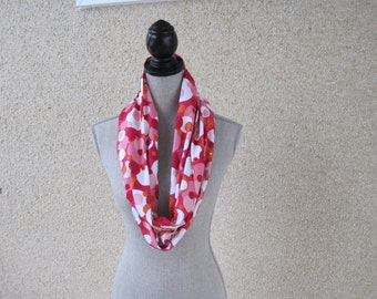 Fabric scarf, Infinity scarf, tube scarf, eternity scarf, loop scarf, long scarf, pink scarf, retro scarf, 60's scarf