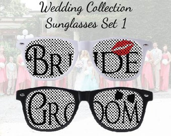 Customized Sunglasses for the Bride and Groom to be, on their special day. Set 1