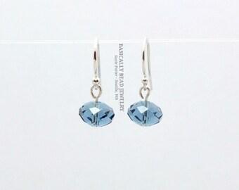Simple 8mm Swarovski Blue Denim Rondelle Austrian Crystals on Sterling Silver earwires
