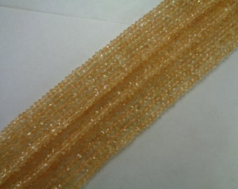 4mm AAA Micro Faceted Citrine Bead Strands, November Birthstone Beads