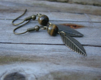 Feather and Tiger's eye earrings