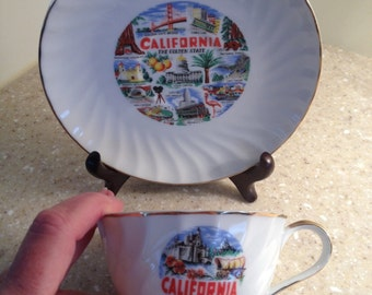 """California """"The Golden State"""" souvenir cup and saucer - 1950s/60s vintage?"""
