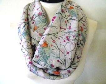 Bird infinity scarf, eternity scarf, soft scarf, circle scarf, floral scarf, loop infinity scarf, bird on tree scarf, cherry blossom scarf