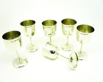 Silver Sherry Glasses, Sterling, Set of 6, Goblets, English, Drinking, Hallmarked Birmingham 1914, F H Adams Ltd, REF:244D