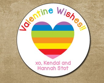 Personalized Valentine Stickers, Rainbow Heart Stickers, Kids Classroom Valentine's Day Cards Stickers, Girl Valentine's Day,