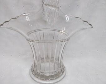 Vintage Clear Glass Large Bride's Basket
