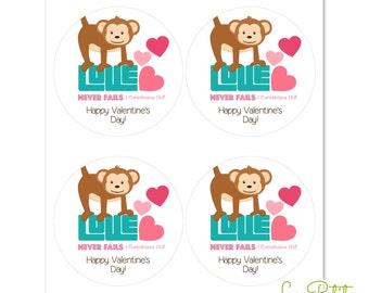 """Monkey Valentine Stickers - 2"""" Round Stickers - Round Favor Stickers - Round Envelop Seals - Bible Verse Sticker Sheets - Sticker Sheets"""