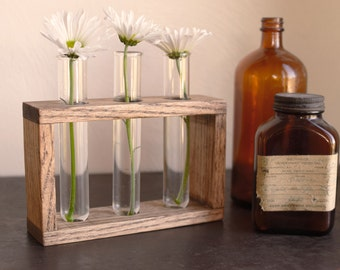 Rustic laboratory bud vase, test tube bud vase, vintage oak, industrial flower vase, reclaimed wood vase, glass bud vase