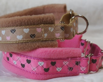 Fleece Lined Martingale Dog Collar - Hearts- 35mm width
