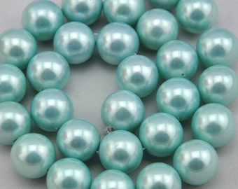 1 Strand 47pcs 8mm Freshwater Pearl,Light green Pearl Beads,8mm Pearl,Shell pearl has,Gemstone Beads--- J0109