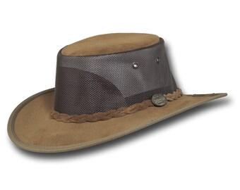 Barmah Hats 1068HI Foldaway Pig Suede Cooler Leather Hat in Hickory