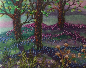 Bluebell Dreaming  - Original Miniature Needle & Wet Felted Embroidery Artwork