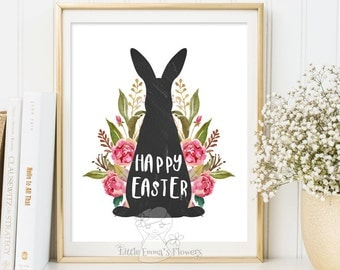 Easter Decoration print Happy Easter Print wall art decor Easter art  Easter home decor Easter Prints Easter Sign Easter rabbit print 146
