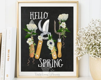 Hello Spring print Welcome Spring Art Printable Spring Decor Spring Art Print  wreath flower print Inspirational quote typographic Print 183