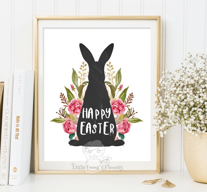 Easter Decoration Print Happy Easter Print Wall Art Decor Easter Art Easter Home Decor Easter Prints