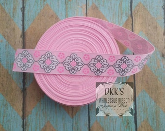 "1"" Pink and Silver Foil grosgrain ribbon-2 and 5 yards"