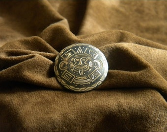 Vintage Sterling Silver Circle Pin/Pendant with Aztec Image