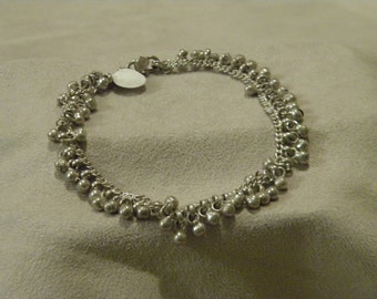 Sterling Silver Dangle Bead Anklet