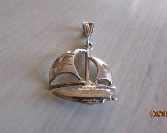 Sterling Silver Sailboat Diamond Cut Pendant
