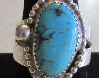 Turquoise and Sterling Silver Ring Size  13 1/4