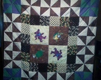 Ready to ship! Grateful Dead dancing bear and terrapin patchwork and crochet blanket