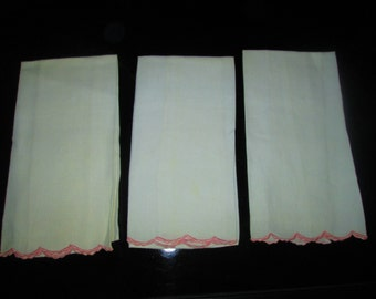 Three Vintage Tea Towels with Pink Scalloped Edges 100% cotton