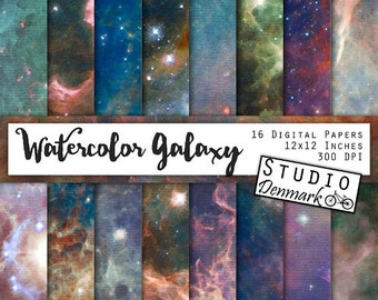 Watercolor Galaxy Backgrounds - Cosmos Digital Paper - Space Art - Stars and Galaxies / Milky Way / Nebulae - Instant Download